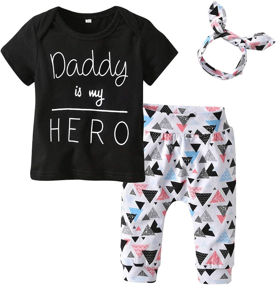 3 unids/Set Infant Toddler Boy Girl Trajes Ropa Traje Daddy Is My Hero Tops de la Camiseta + patrón de triángulo Pantalones + Diadema
