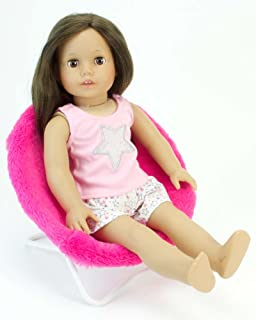 18 Inch Doll Furniture, Hot Pink Fuzzy Papasan Chair Perfect For Your 18  Inch American