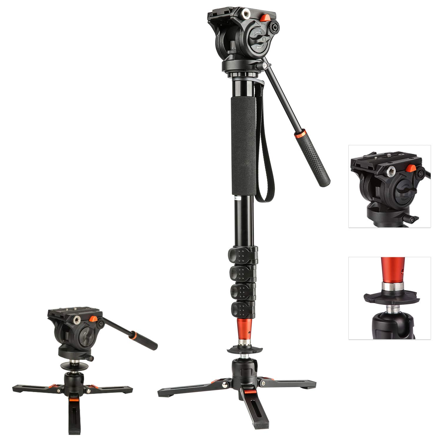 Video Camera Monopod with 3-Leg Tripod Base, 73 inches Aluminum Monopod Leg, Pan Tilt Fluid Head for DSLR Cameras Video Camcorders, Including Carrying Bag by FANSHANG