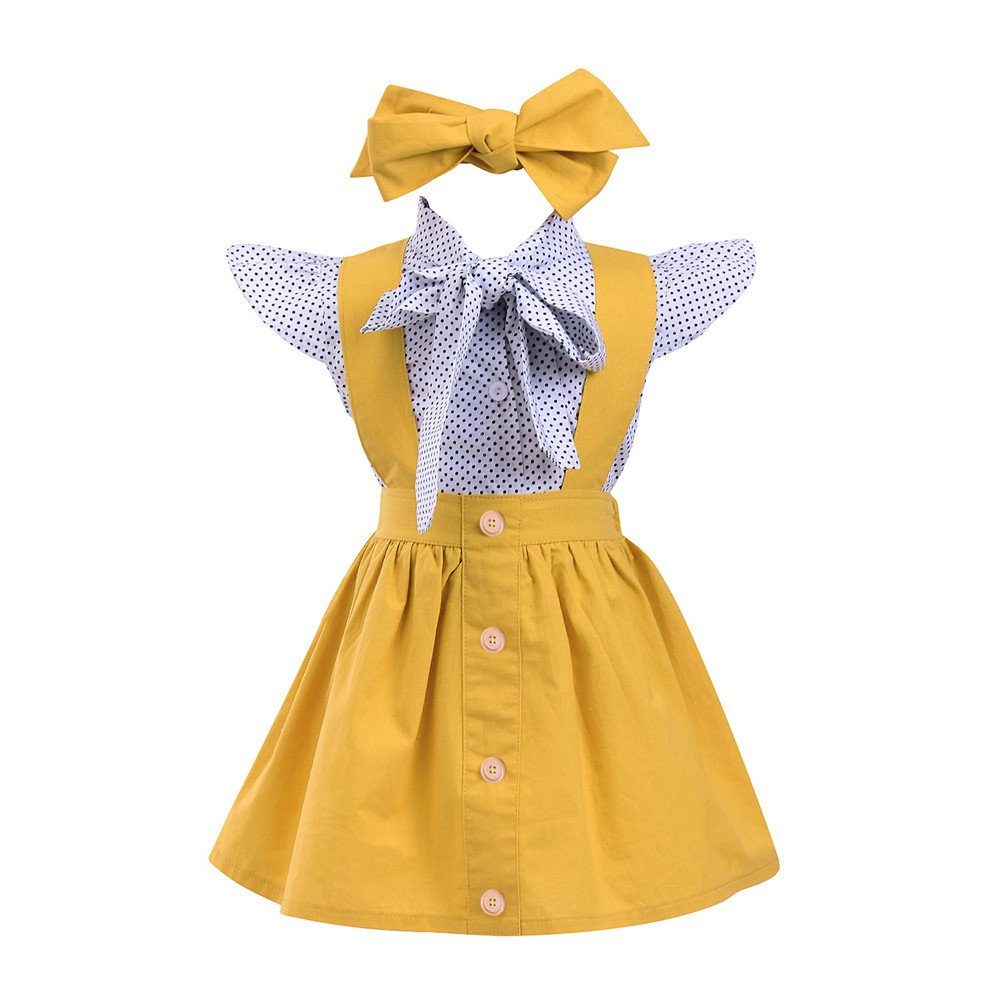 Birdfly Toddler Girl Britpop Style Elegant Dot Print Shirt + Pure Yellow Skirt + Tie + Headbands 4Pcs Set School Uniform