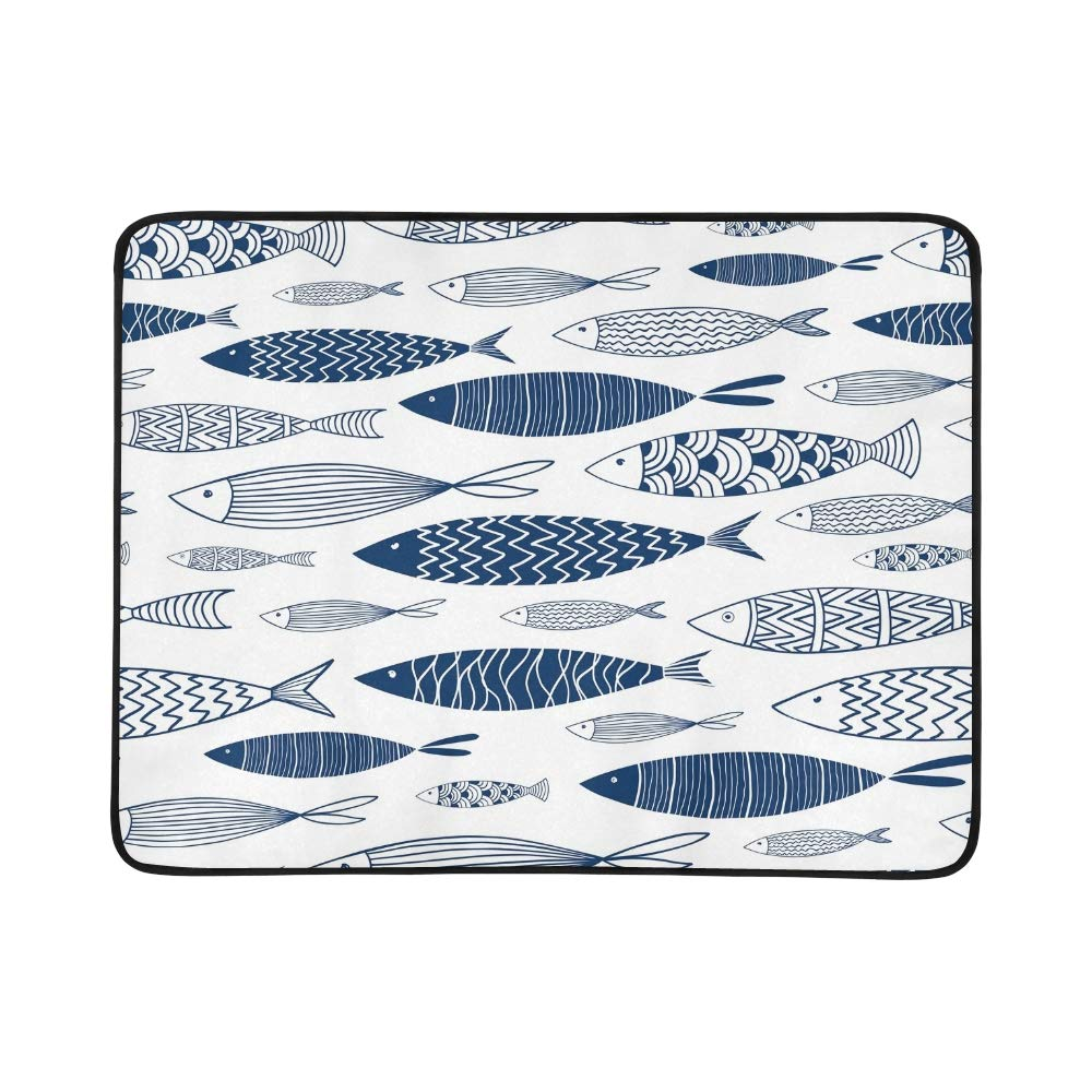 EIJODNL Ornamental Fish Portable and Foldable Blanket Mat 60x78 Inch Handy Mat for Camping Picnic Beach Indoor Outdoor Travel B07MYQZT8D Picknickdecken Allgemeines Produkt