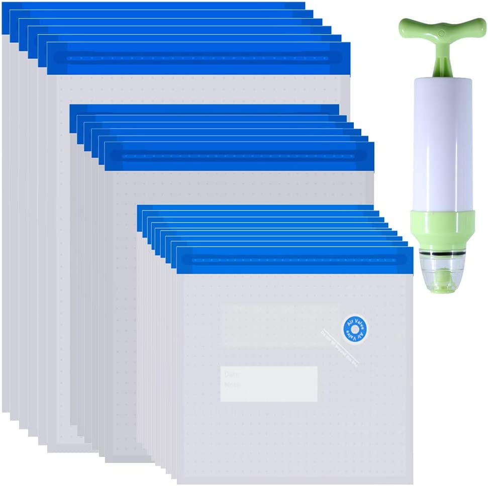 Daarcin 3 Size Sous Vide Bags 20pcs BPA Free Reusable Vacuum Sealer Bags Keep Food Flash with 1 vacuum hand pump and 2 Sealing Clips