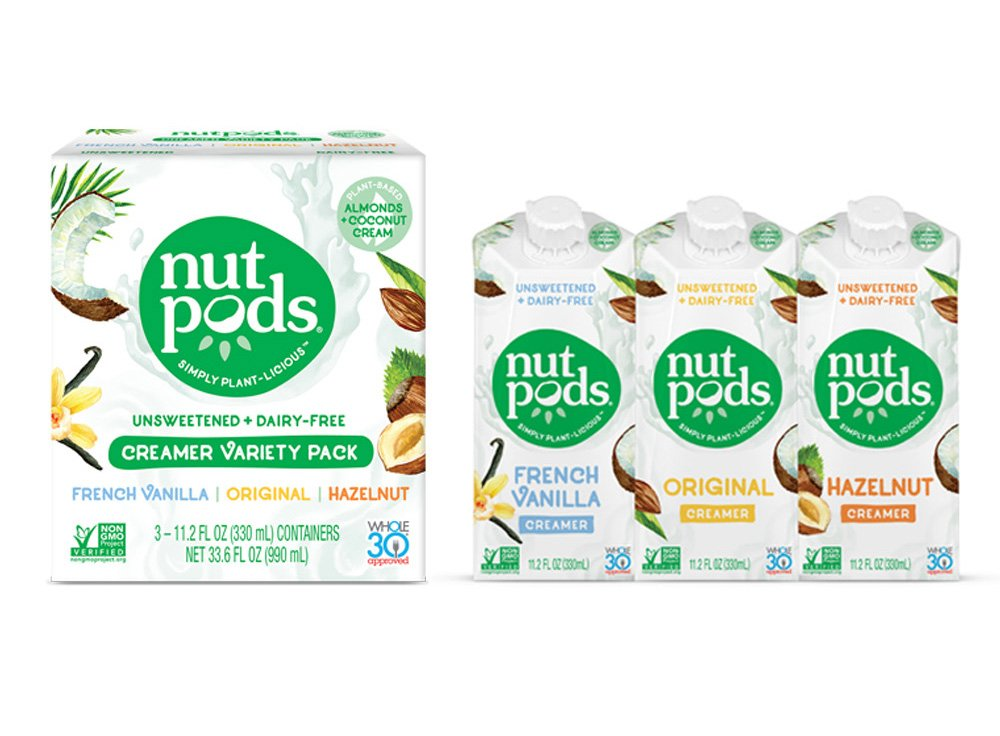 nutpods Unsweetened Dairy-Free Creamer, Variety 3-pack, Whole30, Paleo, Keto, Non-GMO & Vegan, for Coffee, Tea & Cooking, made from almond and coconut