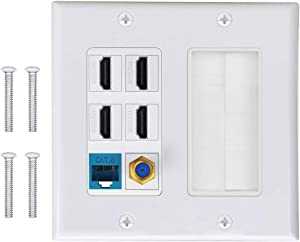 Brush Wall Plate, IQIAN 2 Gang 4 HDMI HDTV + CAT6 RJ45 Ethernet + Coaxial Cable TV F Type Keystone Face Plate,Wall Socket for HDTV, HDMI, Home Theater Systems