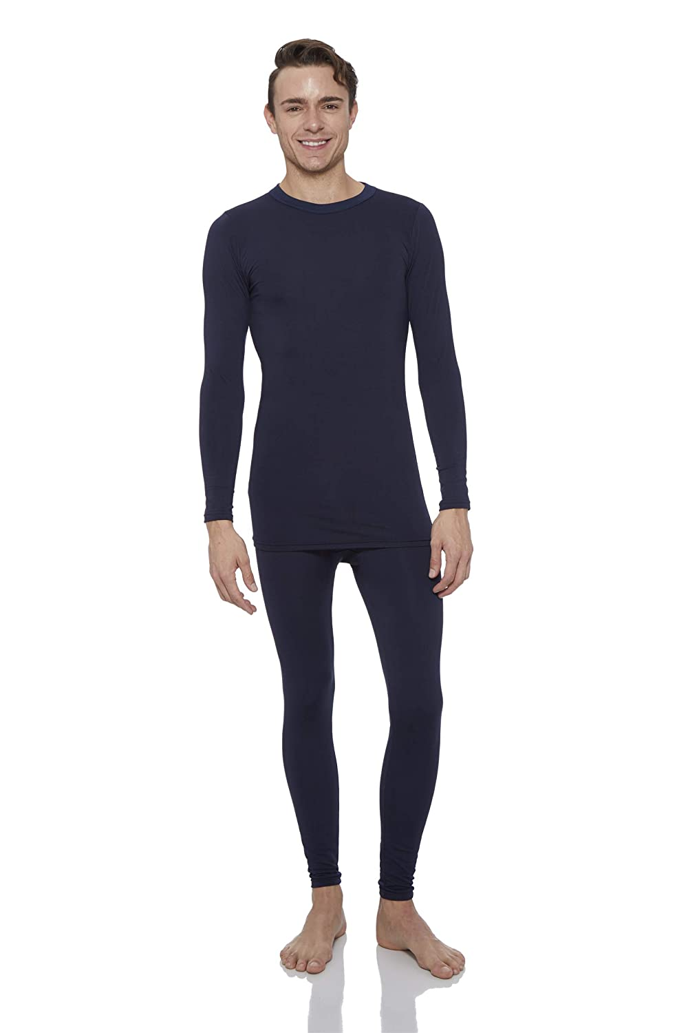 ROCKY Thermal Underwear for Men Fleece Lined Thermals Mens Base Layer Long John Set Navy