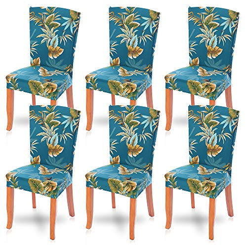 SearchI Dining Room Chair Covers Slipcovers Set of 6, Spandex Fabric Fit Stretch Removable Washable Short Parsons Kitchen Chair Covers Protector for Dining Room, Hotel, Ceremony