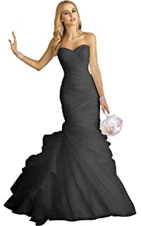 Amazon Com Long Mermaid Wedding Dress With Ruffle Skirt Elegant Lace Appliques Sweetheart Wedding Gown Clothing