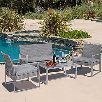 4 PC Outdoor Patio Furniture Set Cushioned Wicker Rattan Garden Lawn Sofa  Seat