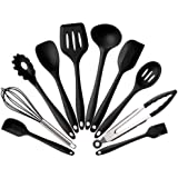 Lysport Home Silicone Kitchen Utensils Set(10 Piece) Heat Resistant Baking & Cooking Utensils Non Stick - Non Scratch Cooking Utensils Kitchen Good Helper (black)