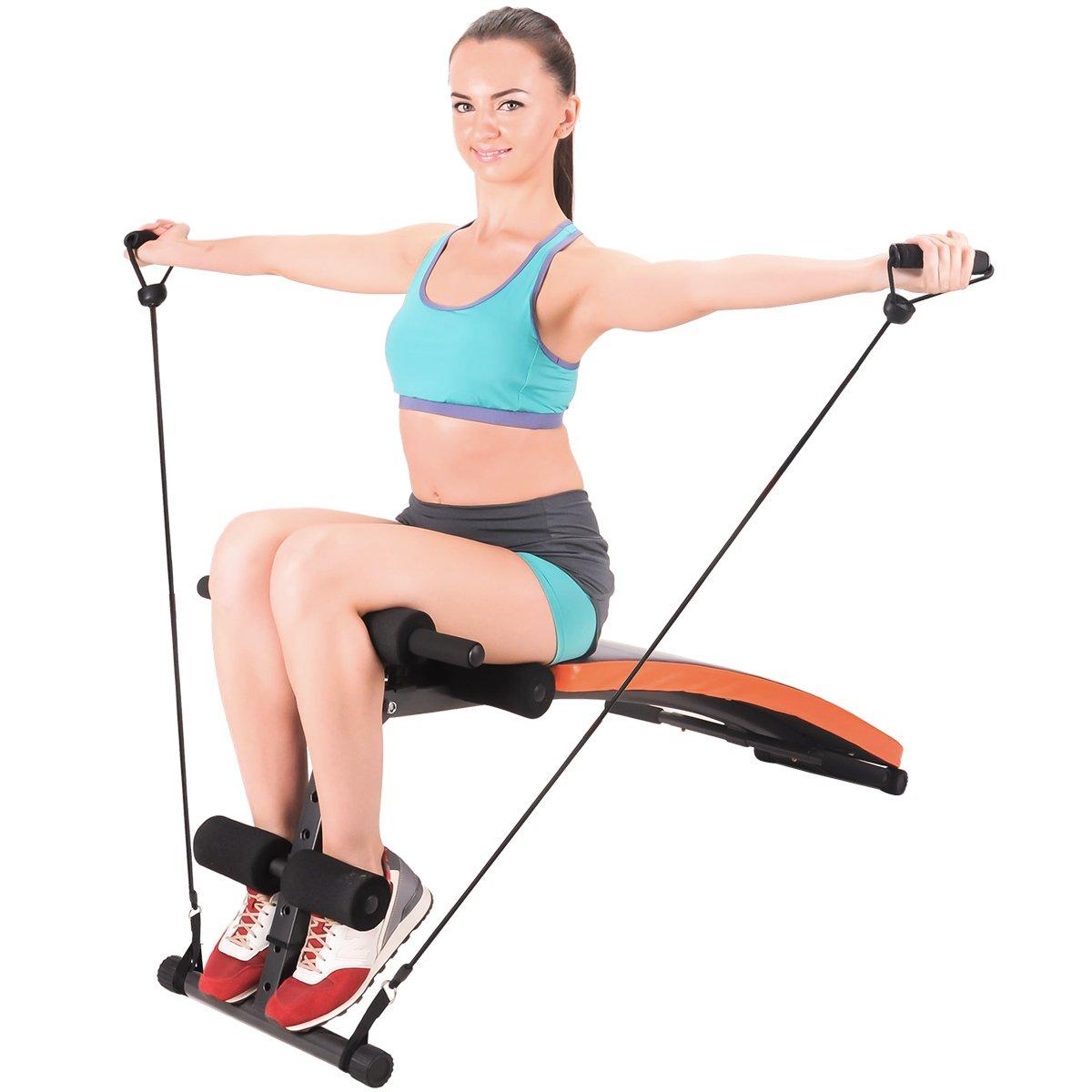 Banco de ejercicio Feierdum, ajustable y plegable, con cuerda de entrenamiento incluida, ideal para hacer abdominales, etc.: Amazon.es: Deportes y aire ...
