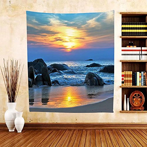 Gzhihine Custom tapestry Seaside Decor Collection Sunset Scenery in Sandy Beach with Rocks and Waves Lonely Peace Morning Dream on Earth Bedroom Living Room Dorm Tapestry Blue - In Ar Rock Little Outlets