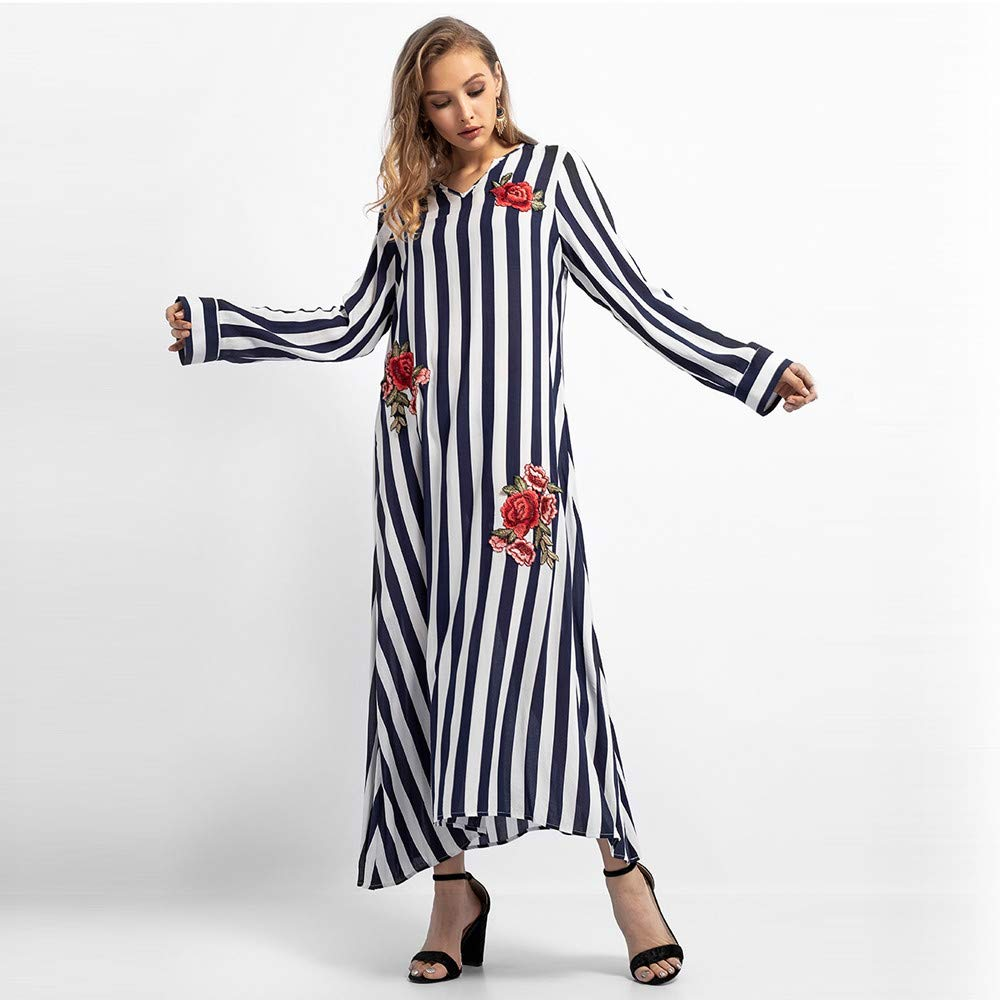 c636fe7a0e60 Women Stripe Embroidery Dress Long Sleeve Islamic Muslim Middle East Maxi  Blue Beach Floral Robe at Amazon Women's Clothing store: