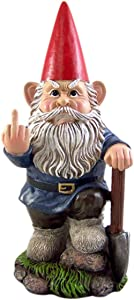 DWK Small Angry Garden Gnome with Shovel Figurine, 9 Inches