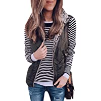Tmore Womens Sherpa Vest Casual Fleece Lightweight Zipper Waistcoat Reversible Sleeveless Outwear Vests with Pockets