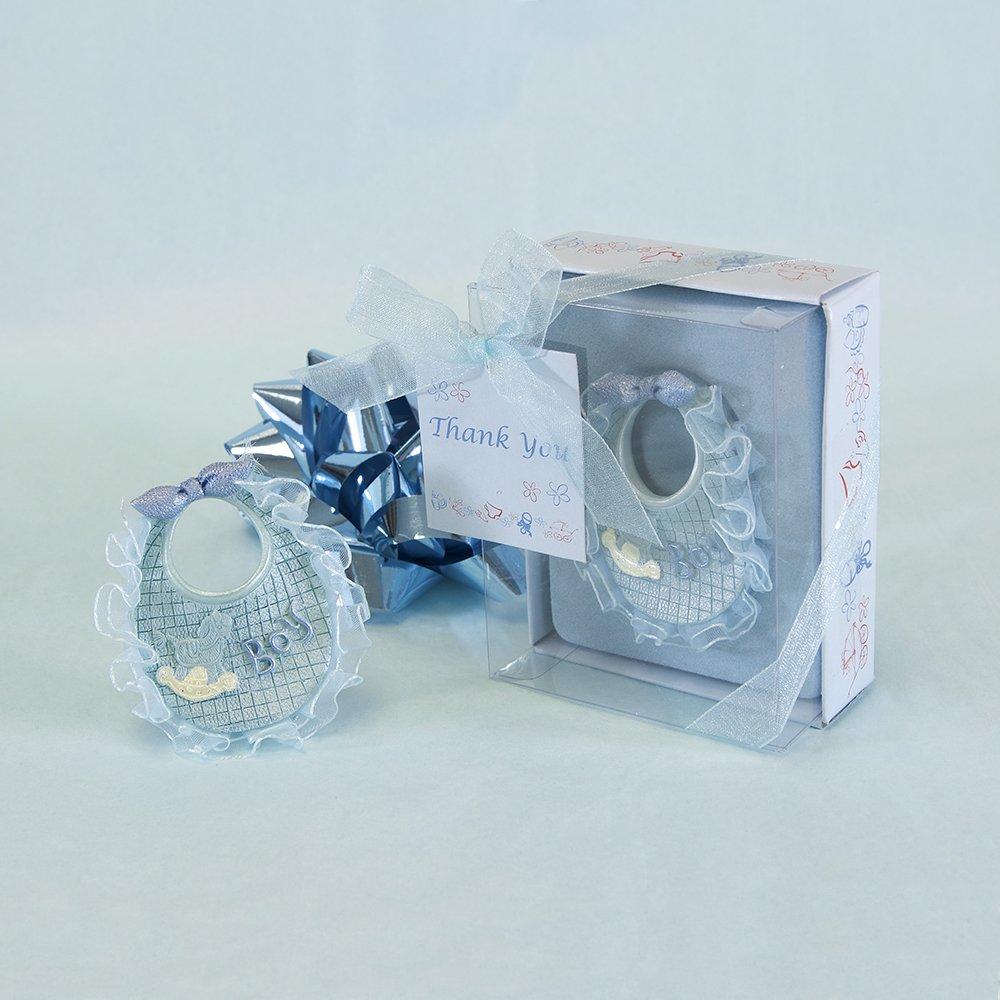 Lunaura Baby Keepsake 12 pcs Baby Boy Blue Bib with Thank You Card Favors