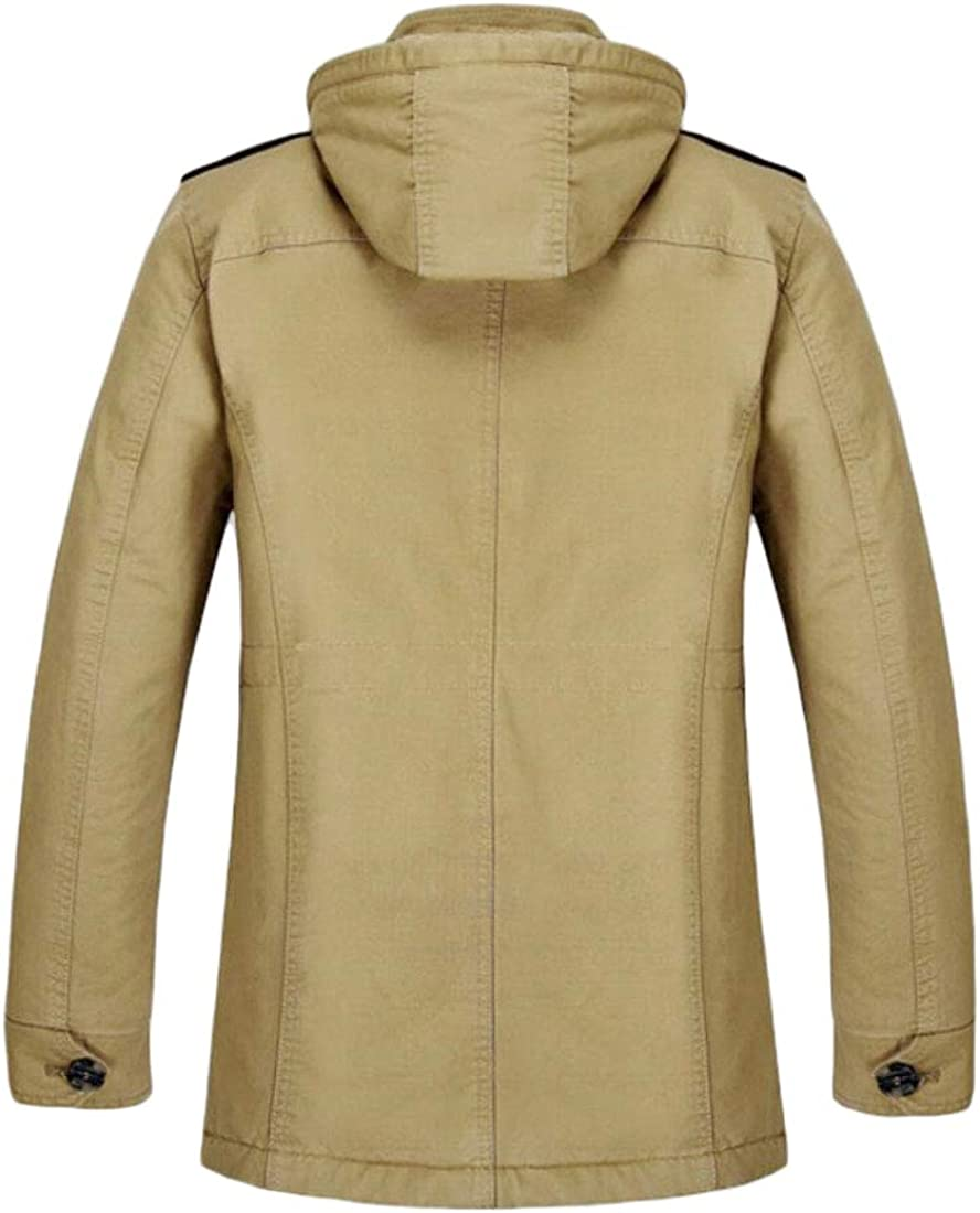 ONTBYB Mens Cotton Quilted Thicken Fleece Mountain Zip Outwear Down Jacket Coat