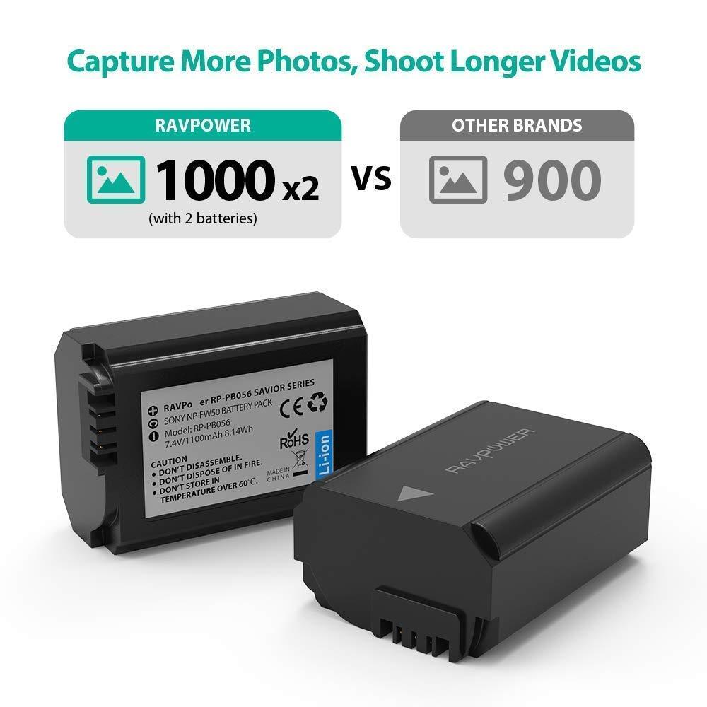 Amazon.com: NP-FW50 RAVPower - Cargador de batería para ...