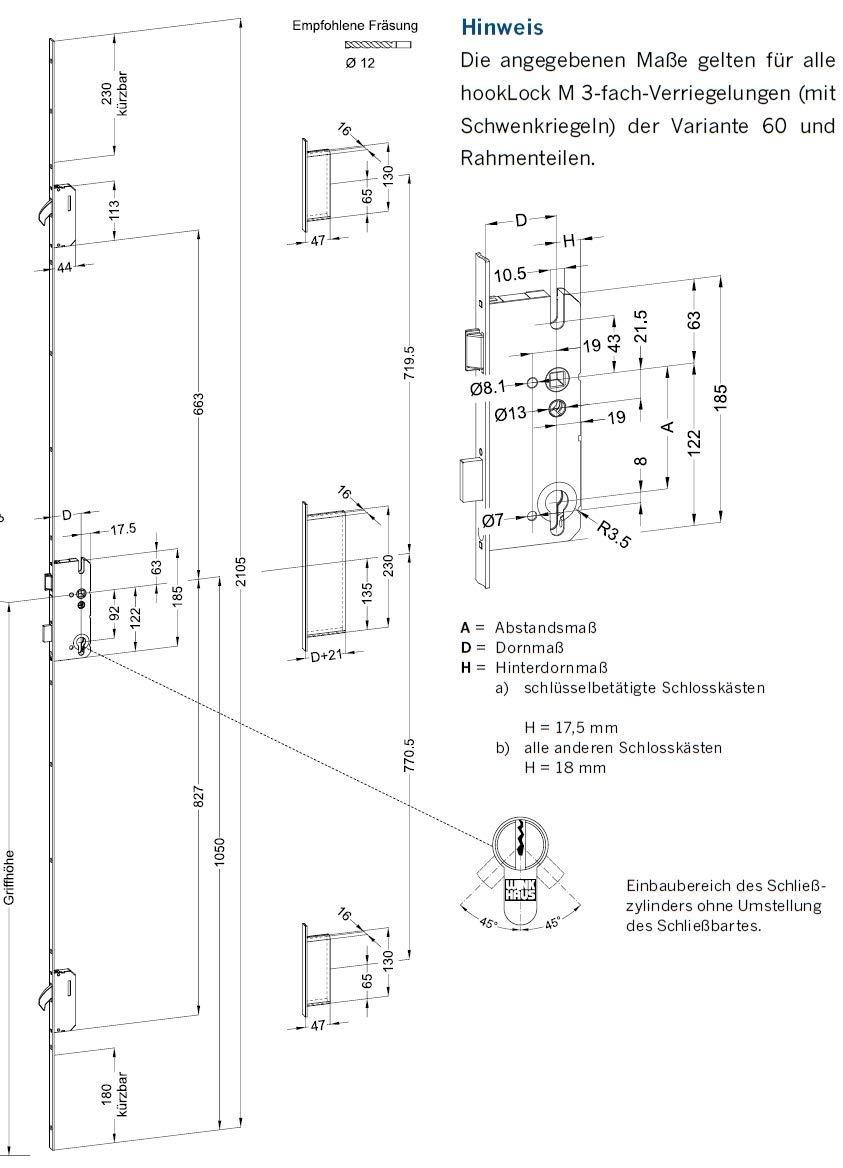 Winkhaus Mehrfachverriegelung STV-F2060 92//8 D35 RS M2 MC 20 mm Flachstulp mit 2 Schwenkriegeln