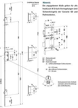 Winkhaus Mehrfachverriegelung T-F1662 92//10 Dorn 45 mm DIN links M2 MC 16 mm Flachstulp mit 2 Schwenkriegeln f/ür niedrige T/üren Stulp Silber