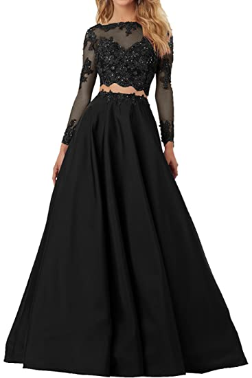 DressyMe Womens Alluring Prom Homecoming Dress 2 Piece Long Sleeves Lace-6-Black