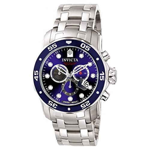 Invicta Mens 0070 Pro Diver Collection Analog Chinese Quartz Chronograh Silver-Tone/Blue Stainless