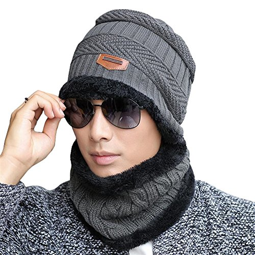 Gellwhu Men Winter Slouchy Beanie Hat Scarf Set Women Lined Thick Knit Skull Cap (Hat+Scarf (Dark Grey)) -