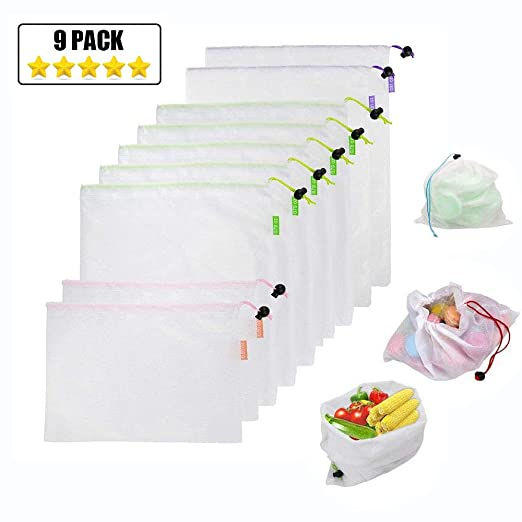 JUMKEET 9 Pack Bolsas De Productos Reutilizables Bolsas De Malla Bolsas De Almacenamiento Ecológicas Lavables Para Juguetes De Frutas y Verduras,Bolso ...