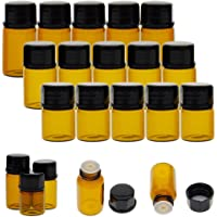 Niome Mini Empty Glass Essential Oil Bottle Amber Refillable Dispenser Jar for Skin Care Oil Mix 30Pcs