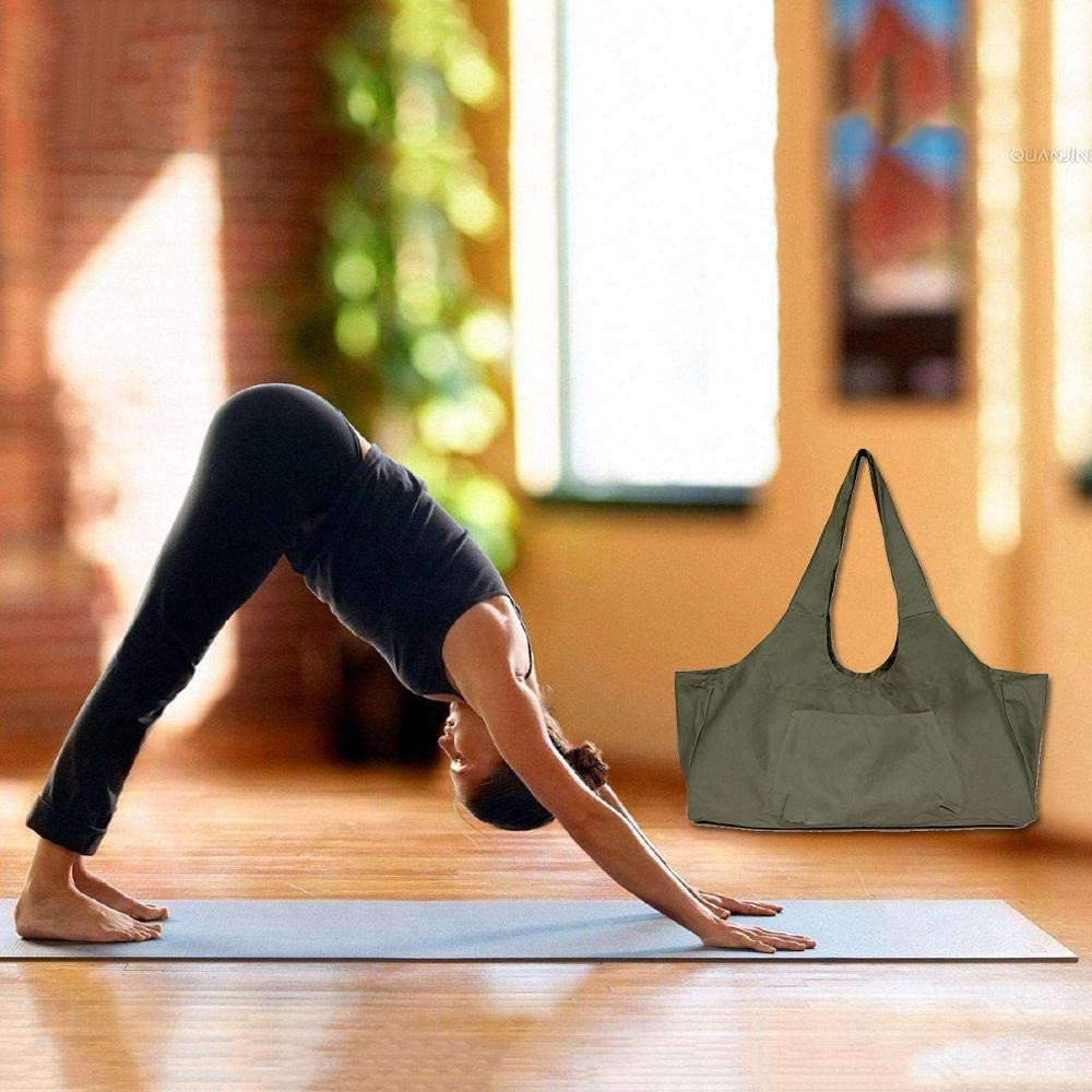AUOKER Yoga Mat Carrier Dirt Resistant Durable Light Weight Fit Most Size Mats 8oz Large Capacity Yoga Mat Tote Bag with Side Pocket