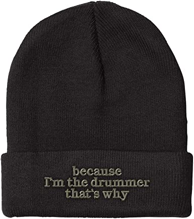 Soft Retro Style Drummer Silhouette Skull Cap for Men Women Unisex Knit Hat