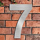Brushed House Number 7 Seven-20.5cm 8.1in-Made of Solid 304 Stainless Steel, Floating Appearance, Easy to Install