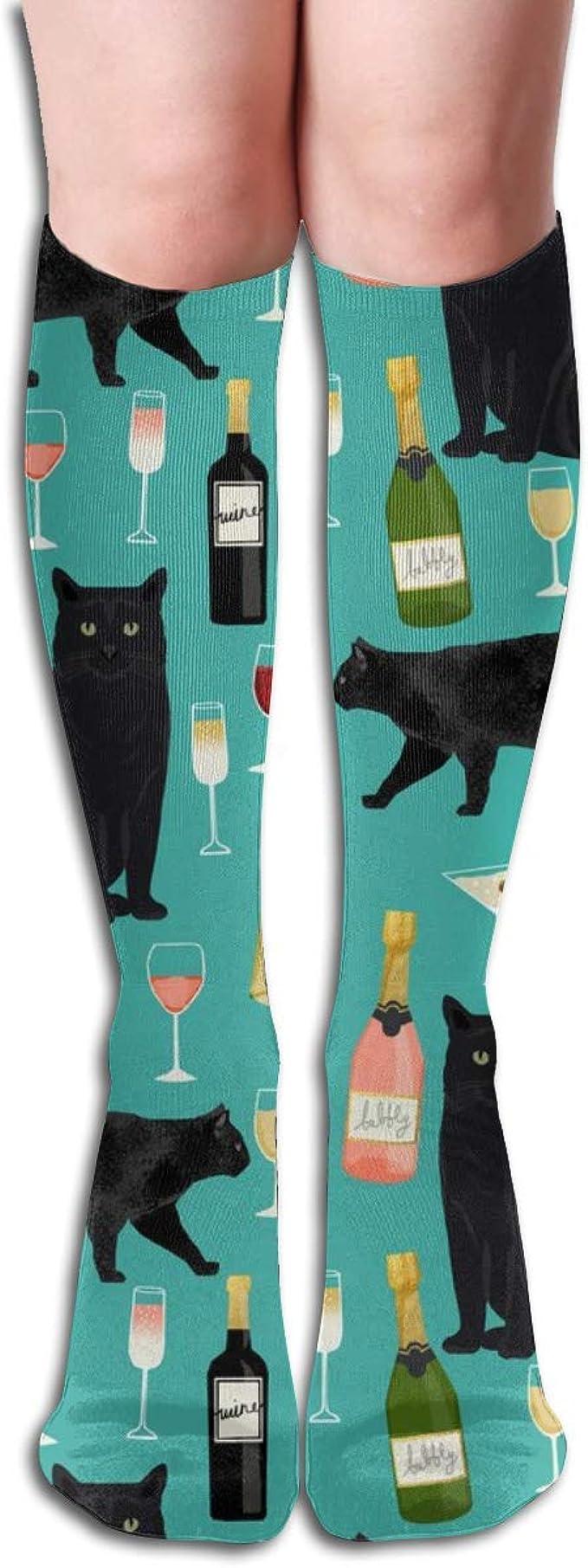 Tela de vino de gato negro Tela linda de rosas y gatos Tela de gatito Gato Tela de dama de gato Turquesa Tubo de mujer Rodilla Muslo Medias altas Calcetines de cosplay