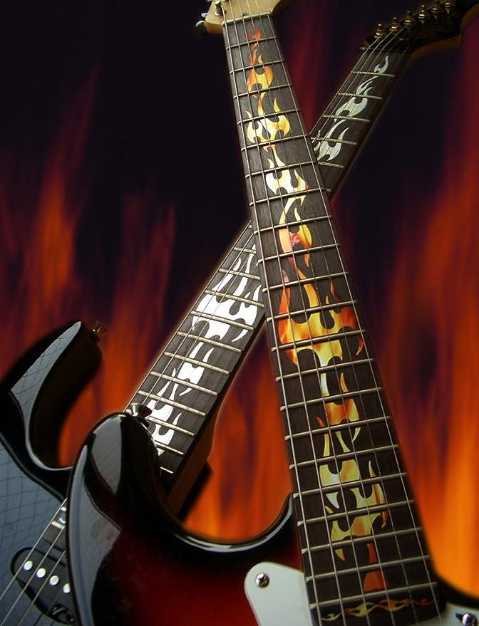 Diapasón marcadores Inlay adhesivo adhesivos para guitarra - fuego llamas - RF: Amazon.es: Instrumentos musicales