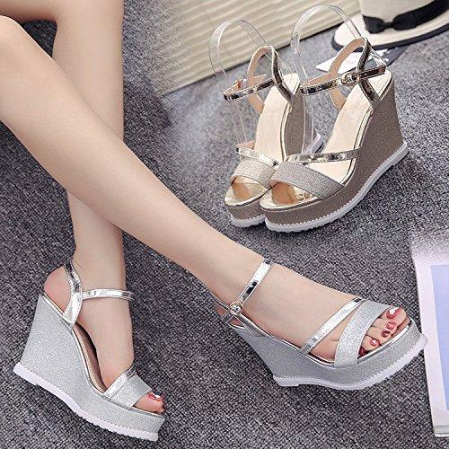 Calzado Pendiente Captura Taiwán de Salvajes Plata Tacón Moda Zapatos yalanshop Mujer 37 con Impermeable Una Alto 4fSqF