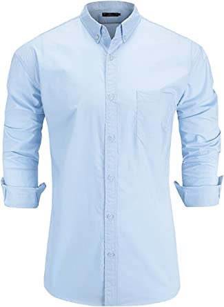 NEW MENS WASHED OXFORD LONG SLEEVE SHIRT BUSINESS WORK OFFICE WHITE BLUE SHIRTS