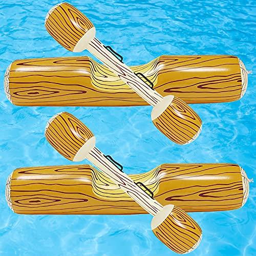 VOIIAKE4PCS 팽창식 행동 장난감 성인 어린이 수영장 파티에 물 전투 스포츠 뗏목 로그레이 타고 배 뗏목