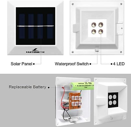 Easternstar Luces Solares 4 LED Exterior, Lámpara Solar Nocturna ...