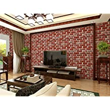 """3D Dark Red Brick Stone Wallpaper Cobblestone Shaped Coffee Shop And Living room Background Wallcoverings 20.8"""" x 393.7"""""""