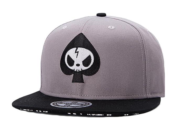 3e894b33ed8 Amazon.com  WUKE Spades Skull Snapback Hat Hip-Hop Baseball Cap ...