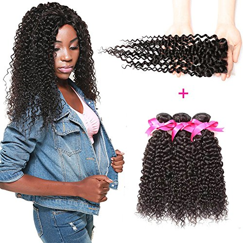 DSOAR 100% Brazilian Unprocessed Curly Virgin Weave Hair 3 Bundles with Closure Deep Curly Human Hair Extensions (16 18 20 inch with 14 inches Free Part Closure) by DSOAR