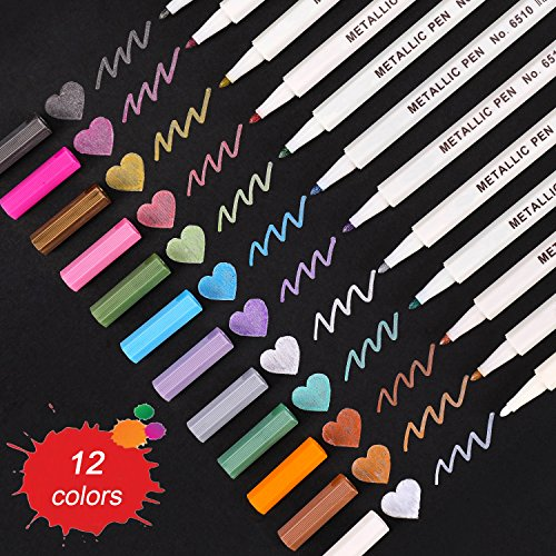 Dyvicl Metallic Markers Paint Marker Pens - Metallic Marker Pens Set of 12 Assorted Colors for Adult Coloring Books, Planner, Card Making, Art Rock Painting, Glass - Fine Tip