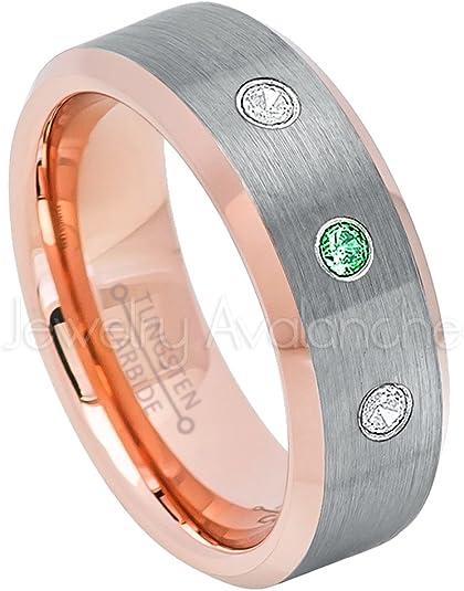 Jewelry Avalanche 0.21ctw Tsavorite /& Diamond 3-Stone Tungsten Ring 8MM Comfort Fit Brushed Finish Beveled Edge Tungsten Carbide Wedding Band