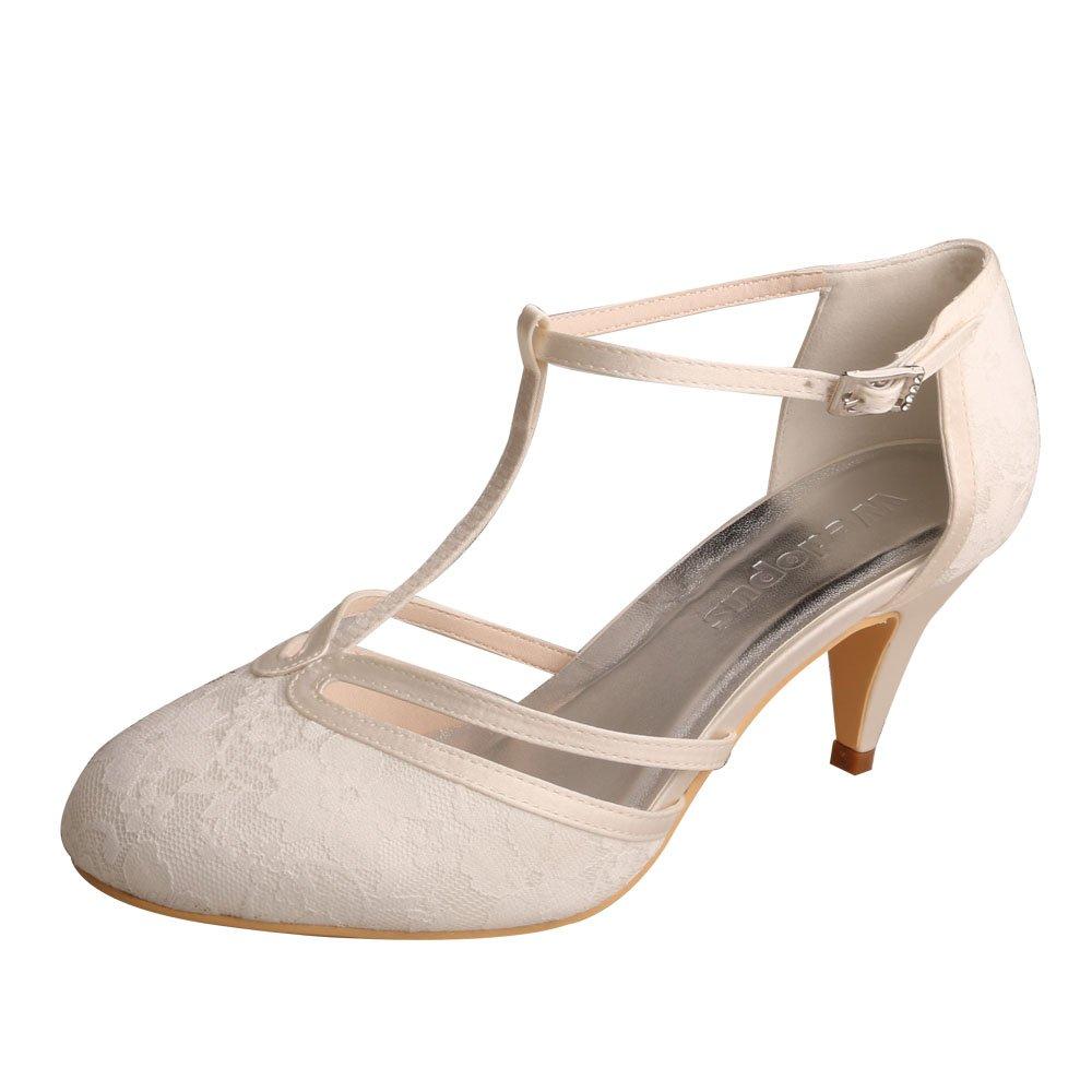 4f4d553de47b8 Wedopus MW621 Women's Closed Toe Kitten Heels Lace T-Strap Wedding Bridal  Court Shoes