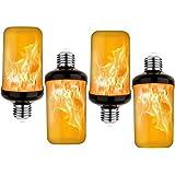 PRETIGO LED Yellow Fire Flame Effect Light Bulbs Silver Case, 6W E26/E27 Simulated Flames, 4 Mode Types Flickering Light Bulb