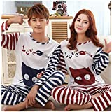 KAKA(TM) Couple Lover Pure Cotton Pyjamas Cute Cartoon Stripe Fish And Cat Homewear Sleepwear (1 set)-XL