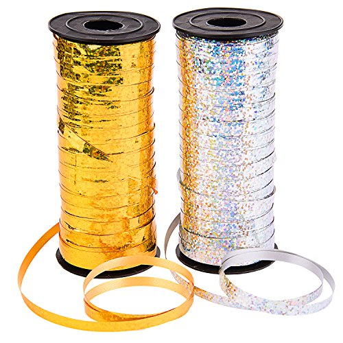 Sunmns 2 Roll Crimped Curling Ribbon Balloon Band Tie for Parties, Festival, Florist, Crafts and Gift Wrapping, 5 mm, 200 Yard