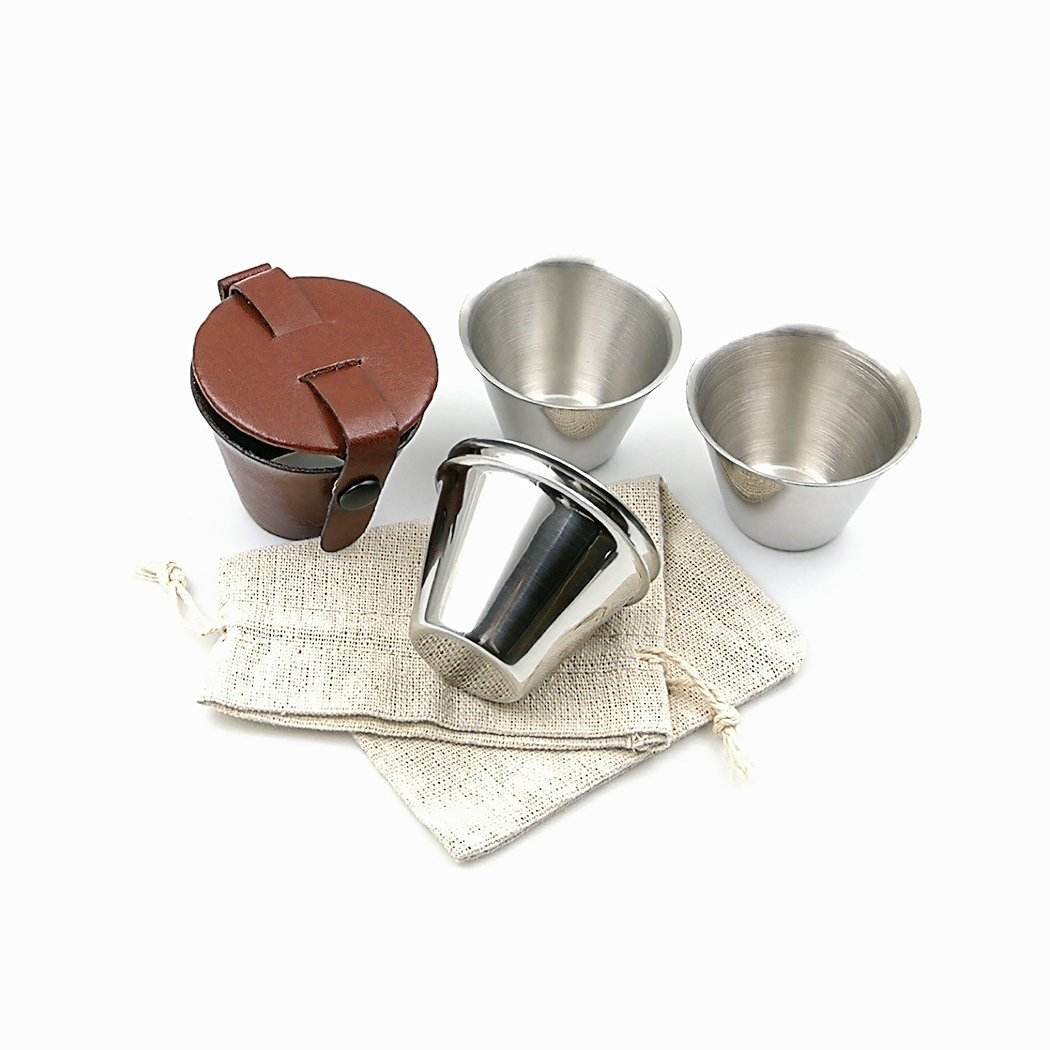 iSavage shot glasses with brown leather case 1.5oz each set of 4 18/8 stainless steel, 1 cloth bag-YM205