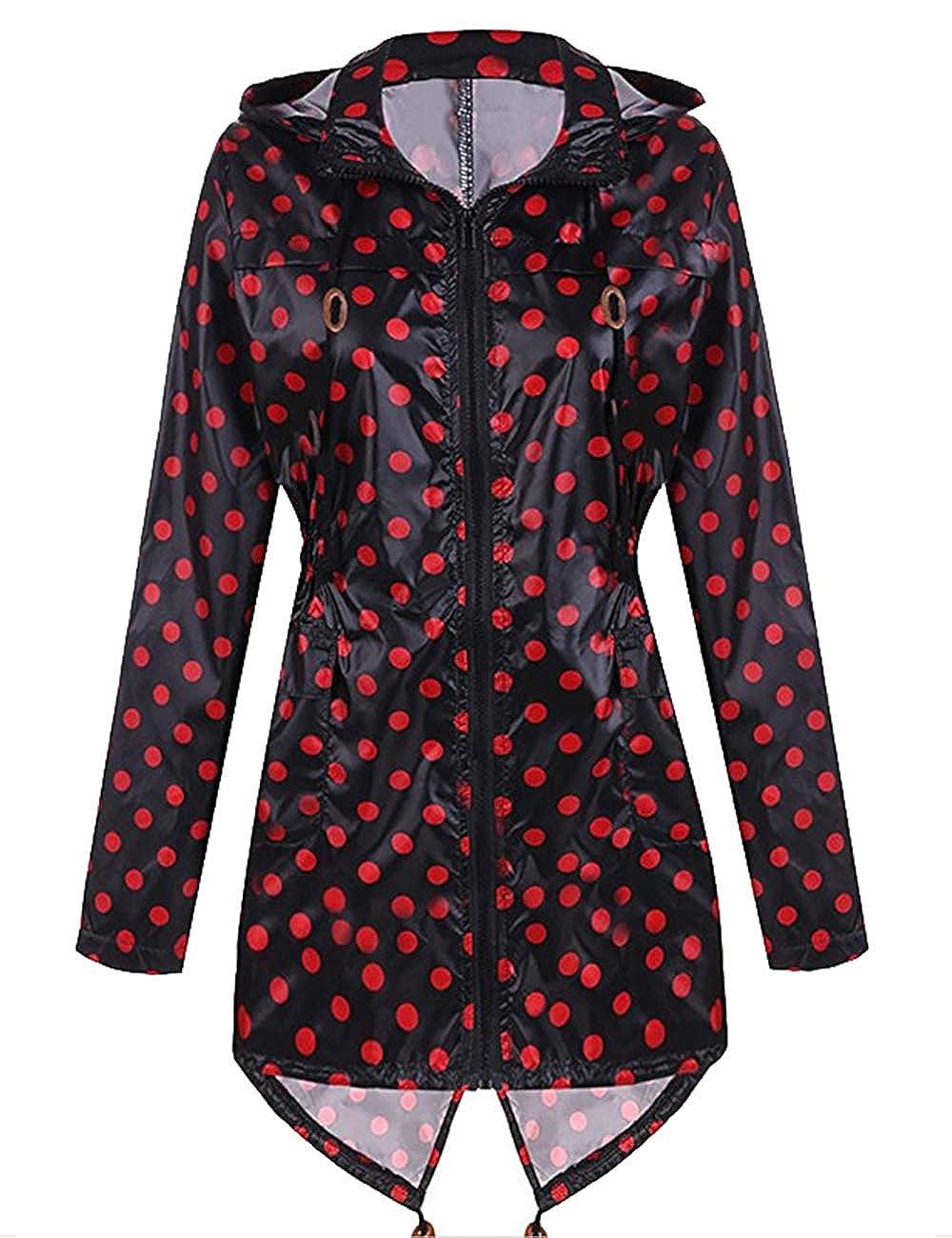 SEBOWEL Women's Lightweight Waterproof Raincoat Hooded Outdoor Long Rain Jacket