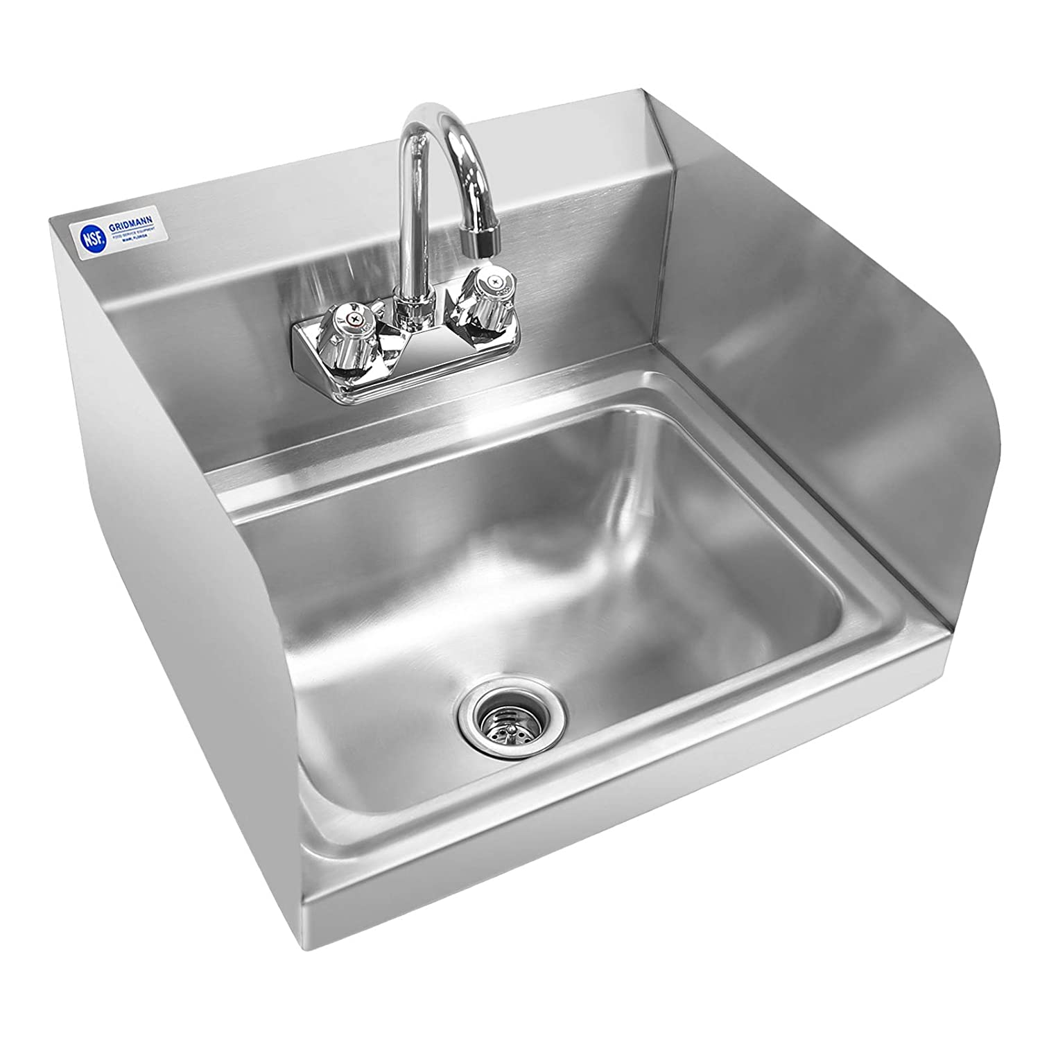 Image of Commercial Sinks GRIDMANN Commercial NSF Stainless Steel Sink with Faucet & Sidesplashes - Wall Mount Hand Washing Basin