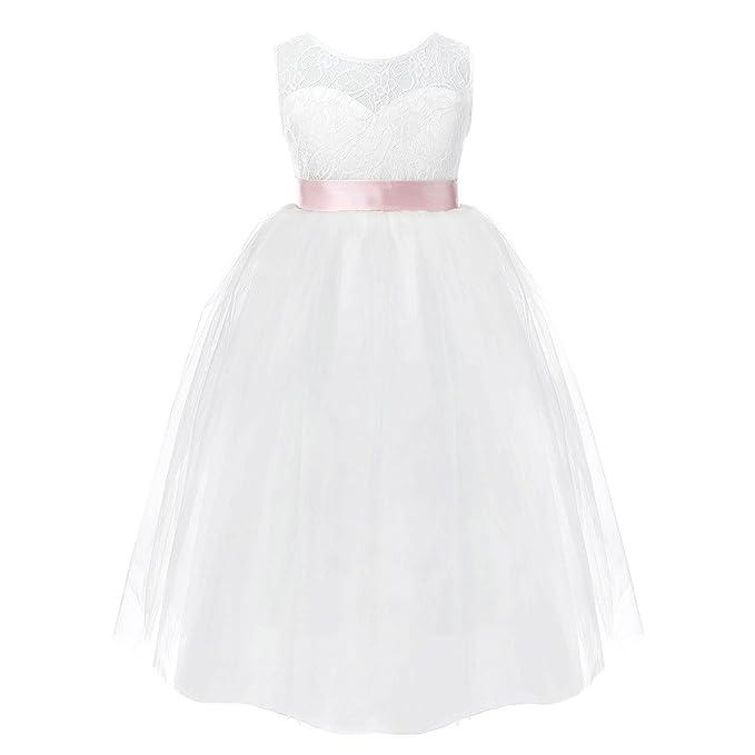 FEESHOW Bebé Niña Princesa Elegante de Encaje Blanco Vestido De Fiesta Traje Formal 2-12Años